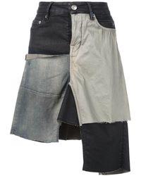 Rick Owens パッチワーク スカート - ブラック