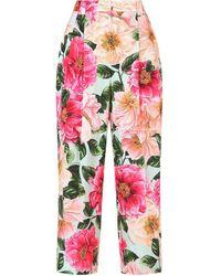 Dolce & Gabbana フローラル クロップドパンツ - ピンク