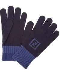 Fendi Contrast cuff gloves - Bleu