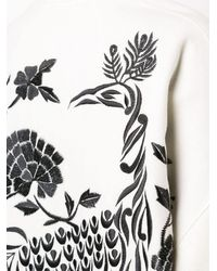 Natori Peacock Embroidered Felted Coat - White