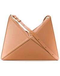 Mlouye Geometric Leather Shoulder Bag - Brown
