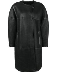 Isabel Marant Oversized Boxy Fit Shearling Coat - Black
