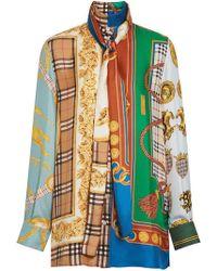 891d8207de96 Burberry - Archive Scarf Print Silk Tie-neck Shirt - Lyst
