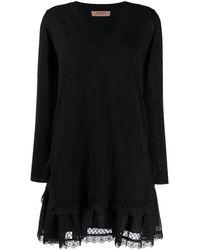 Twin Set Трикотажное Платье С Английской Вышивкой - Черный