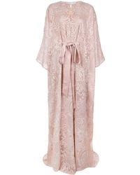Marchesa エンブロイダリー カフタンドレス - ピンク
