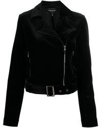 Emporio Armani ベルベット ライダースジャケット - ブラック