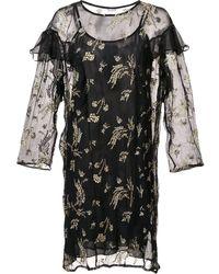 SUNO Sheer Ruffle Dress - Black