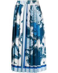 Victoria, Victoria Beckham Map-print Pleated Skirt - Blue