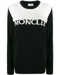 Moncler ロゴ インターシャセーター - ブラック