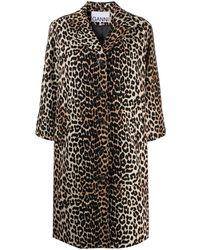 Ganni Пальто С Леопардовым Принтом - Черный