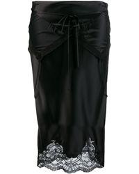Alexander Wang Tie Fold Over Slip Skirt - Black