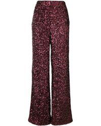 Victoria, Victoria Beckham All Over Sequin Wide Leg Pants - Red