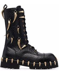 Roberto Cavalli Horn-charm Chunky Leather Boots - Black
