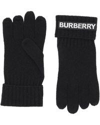 Burberry Kingdom And Logo Appliqué Cashmere Gloves - Black