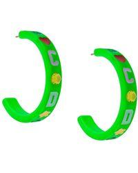 Gcds Logo hoop earrings - Verde