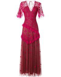 Needle & Thread Vestido con cuello en V y volante - Rojo