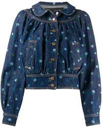 Marc Jacobs Floral Peter Pan-collar Denim Jacket - Blue