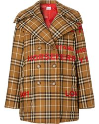 Burberry Horseferry Logo And Check Print Quilted Pea Coat - Multicolor
