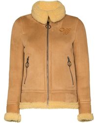 Off-White c/o Virgil Abloh Aviator Style Shearling Coat - Brown