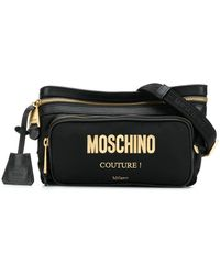 Moschino エンボスロゴ ベルトバッグ - ブラック