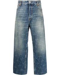 Balenciaga Logo Print Cropped Jeans - Blue
