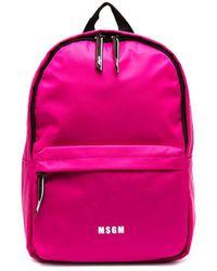 MSGM Logo-print Backpack - Pink