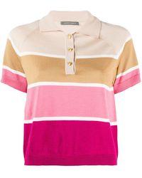 Alberta Ferretti クロップド ストライプポロシャツ - ピンク