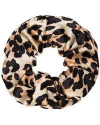 Ganni - Brown, Black And Beige Calla Leopard Print Silk Scrunchie - Lyst