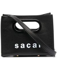 Sacai Маленькая Сумка-тоут С Логотипом - Черный