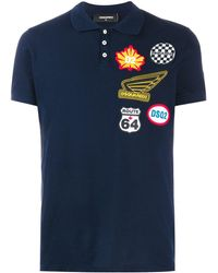 DSquared² Multi-patch Logo Polo Shirt - Blue