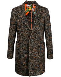 Etro ヘリンボーン シングルコート - ブラウン