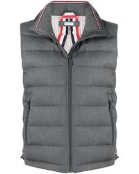 Thom Browne Padded Funnel Neck Vest - Grey
