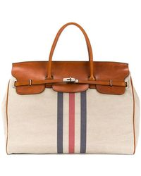 Eleventy Large Striped Front Holdall - Brown