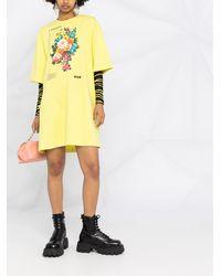 MSGM Платье-футболка С Цветочным Принтом - Зеленый