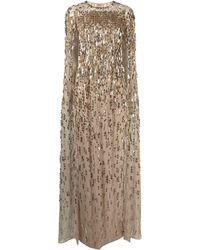 Jenny Packham ケープバック スパンコール ドレス - メタリック