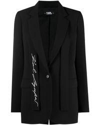 Karl Lagerfeld Блейзер Строгого Кроя С Вышитым Логотипом - Черный