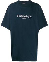 Balenciaga T-shirt bleu marine et blanc Est. 1917