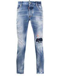 DSquared² Distressed-Jeans mit Farbklecksen - Blau