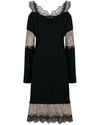 Blumarine Lace Insert Sweater Dress - Black