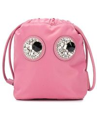 Anya Hindmarch Embellished Eyes Clutch - Pink