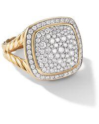 David Yurman 18kt Yellow Gold Albion Diamond Ring - Multicolour