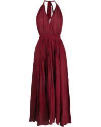 Caravana Long Halterneck Cotton-blend Dress - Red