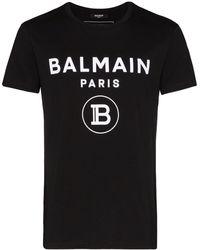 Balmain ブラック ベルベット ロゴ T シャツ