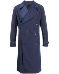 Hevò Double-breasted Belted Trench Coat - Blue