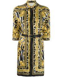 Versace Baroque Print Shirt Dress - Black