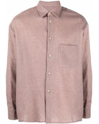 A Kind Of Guise Textured Virgin Wool Long-sleeve Shirt - Pink