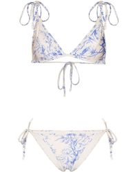 Zimmermann Bikini a triangolo con stampa - Blu