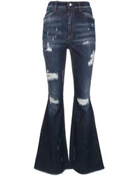Dolce & Gabbana Ripped Detail Bootcut Jeans - Blue