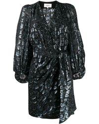 Ba&sh Ginger Metallic Wrap Dress - Black