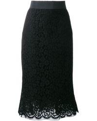 Dolce & Gabbana - Falda de tubo con encaje - Lyst